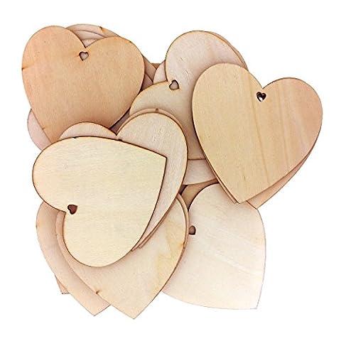 50 Dekorative Hölzerne Herzformen von Kurtzy - 10 x 10cm Handwerk Etiketten Plaketten Geeignet für Hochzeitsempfang, Mittelstücke, Tischdekorationen und Veranstaltungen - Natürlicher Unvollendeter Holz Herzform Ausschnitt