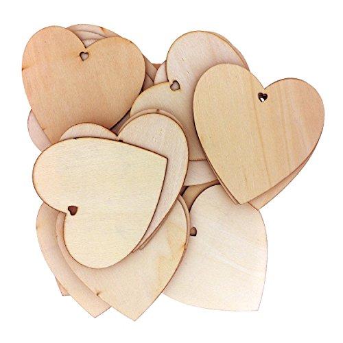 50 Dekorative Hölzerne Herzformen von Kurtzy - 10 x 10cm Handwerk Etiketten Plaketten Geeignet für Hochzeitsempfang, Mittelstücke, Tischdekorationen und Veranstaltungen - Natürlicher Unvollendeter Holz Herzform Ausschnitt Papier-armbänder Für Ereignisse