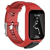 Xshuai Sports montre bracelet Sangle de élastique en silicone Femme Bracelet de rechange pour montre GPS TomTom Spark/3Sport M Red