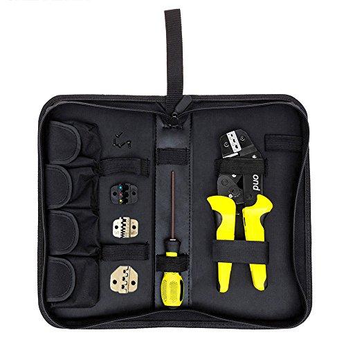 Teckmond Crimpzange Set kabelschuhzange set Crimpwerkzeuge mit Ratschenfunktion für Isolierte Unisolierte Kabelschuhe, 0,14-6mm²