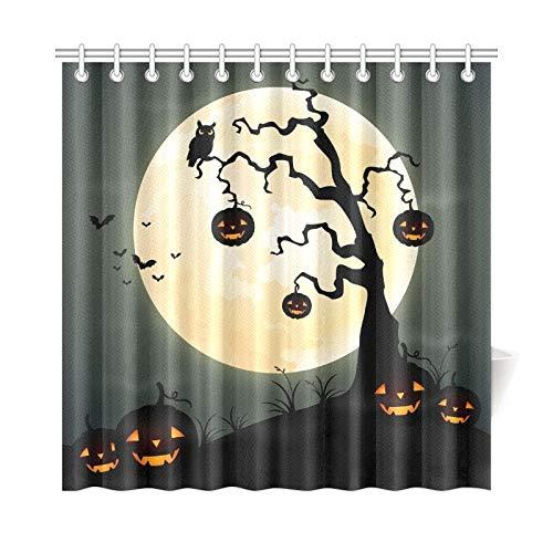ad Vorhang Halloween Nacht Kürbis Baum Voller Polyester Stoff Wasserdicht Duschvorhang Für Badezimmer, 72X72 Zoll Duschvorhänge Haken Enthalten ()