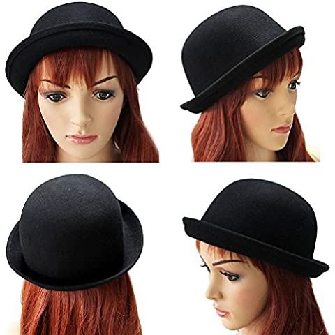 FENICAL Ragazze tesa di Roll-up lana cupola cappello bombetta Dress-up accessori donna (nero)