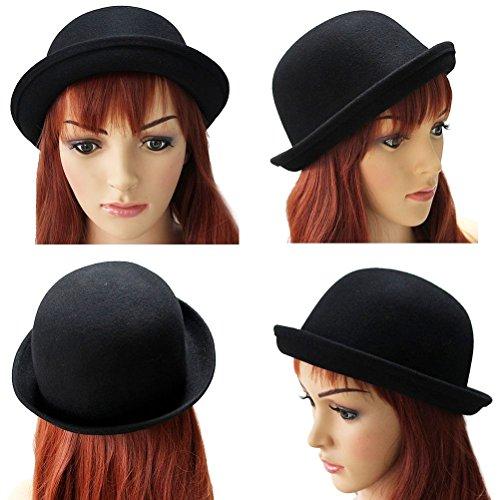 (OULII Mädchen Roll-UP KREMPE Wolle Dome Hut Melone Bekleidung Zubehör für Frauen (schwarz))