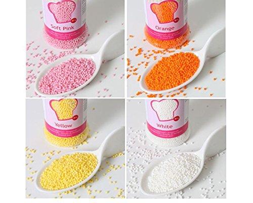 Nonpareils-Set 4tlg.,weiß-gelb-orange-rosa, Zuckerperlen, Zuckerstreusel