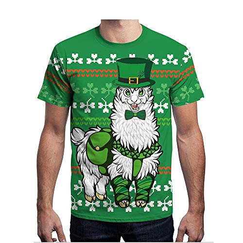 ZGDGG 3D lustiger Tag St. Patricks Unisext-Shirt Paddys Tageskleeblatt Irland T-Shirt und Farben-Kobolde,D,XL