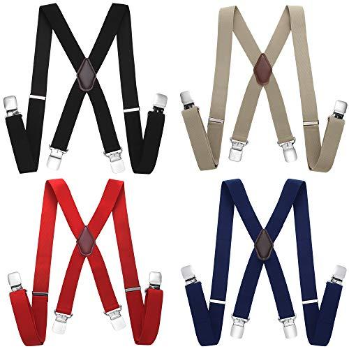 Coucoland Hosenträger X Form mit Metall Clips für Herren Damen Verstellbar Elastisch Hosenträger Set Unisex Hosenträger 4 Stück in 1 Set (Stil 1)