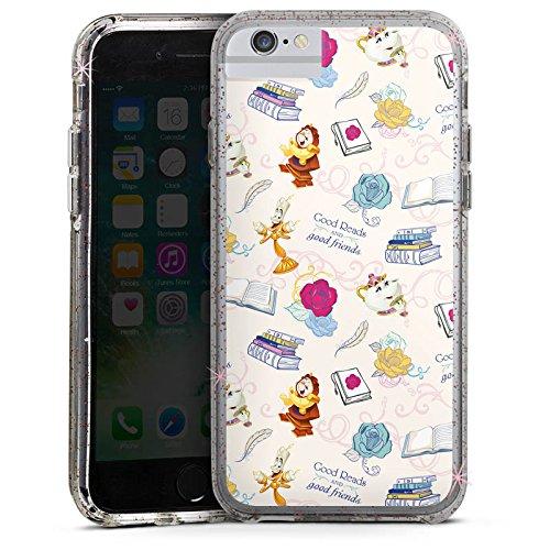 Apple iPhone 6 Bumper Hülle Bumper Case Glitzer Hülle Disney Biest Belle und Biest Bumper Case Glitzer rose gold