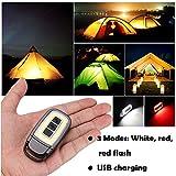 sunnymi Camping Mini USB COB LED Taschenlampe Licht Schlüsselanhänger EDC Licht wiederaufladbare Taschenlampe (Schwarz