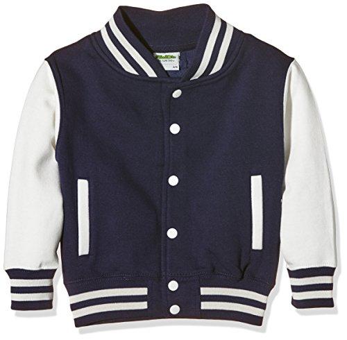 AWDis Kids Varsity Jacket, Giacca Bambino, Blue (Oxford Navy/White), X-Small