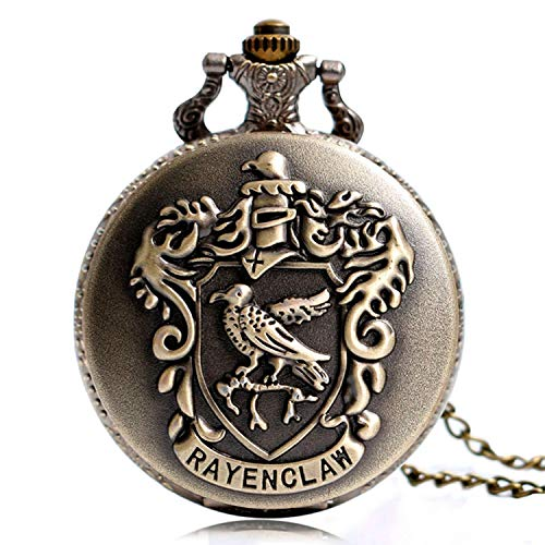Herren Taschenuhr, Harry Potter Hogwarts College Vintage Retro Classic Quarz-Taschenuhr mit Kette, beste Geschenk für Herren (3)