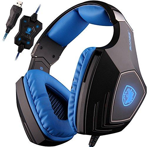SADES-A60-Cuffie-da-Pro-Gaming-USB-con-Suono-Surround-71-Vibrazione-Microfono-ad-alta-sensibilit-Deep-Bass-Controllo-del-Volume-Luci-a-Led-e-Wolf-Logo-Nera