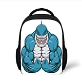 Kids School Backpack Fish,A Smiling Toothy White Shark with Big Muscles on Arms Illustration Print,Light Grey Petrol Blue Plain Bookbag Travel Daypack