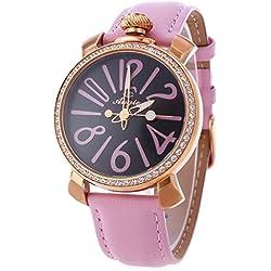 Leopard Shop Angie ST7154L Matonini Series Ladies Quartz Watch Leather Band Luminous Pointers Rhinestone Pink