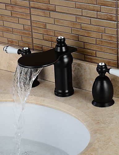 BBSLT-A 3 fori Due maniglie Tre fori in Bronzo lucidato Lavandino rubinetto del bagno