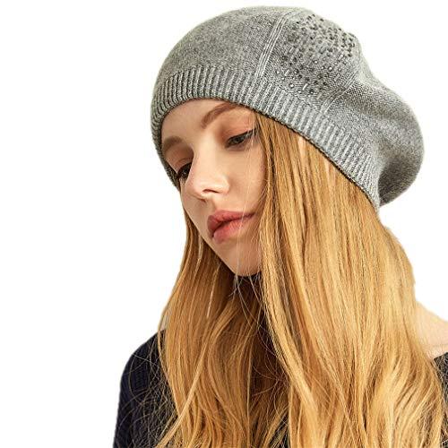 5f74f65abbb EU-KD Women Cotton Cap Knitted Diamond Autumn NEW Winter Hats Grigio