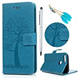 Lanveni Coque pour Huawei Honor 9 Lite Housse Étui à Rabat en [Cuir PU][Bookstyle] Wallet Cartes Slots Fonction Support Rabat Phone Case de Protection Ultra Fine Fermeture Aimantée Hibou Arbre -Bleu
