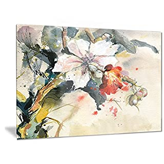 Artdesign Designart Orchid in Bloom - Floral Metal Wall Art - MT6144-28x12
