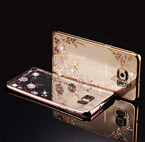 Minto Diamant TPU Blumen Hülle iPhone 6 6s Transparent Silikon Schutzhülle Handyhülle Case Cover Etui Tasche - Rosegold mit Pink Blumen Gold mit Pink Blumen -S7