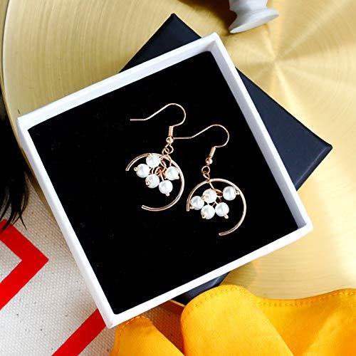 SIWUXIE OrecchiniOrecchini a perno orecchini di perle imitazione personalità femminile coreano dormire senza orecchini picking semplici orecchini rossi selvatici, ganci per le orecchie semicircolari