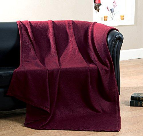 Ehc polar super soffice coperta plaid in pile termico divano, vino, singolo, 130x 210cm