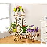 flores estantería Estantes para plantas escalera metálica macetas flores estantería, flores estantería ,estantería de soporte para plantas ( Color : 3 , Tamaño : 86*23*90cm )