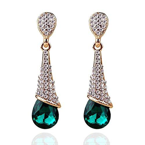 Crunchy Fashion Jewellery Gold Plated Stylish Green Crystal Drop Earrings for Girls Fancy Party Wear Earrings for Women