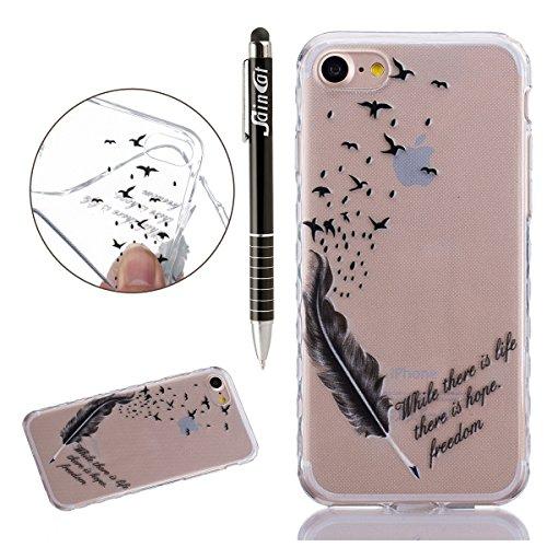 iPhone 7 Hülle,SainCat iPhone 7 Silikon Hülle Tasche Handyhülle Kirsche Muster [Gelbes Gänseblümchen] Schutzhülle Transparent TPU Gel Case Bumper Weiche Crystal Kirstall Clear Silikonhülle Durchsichti Vogelfedern