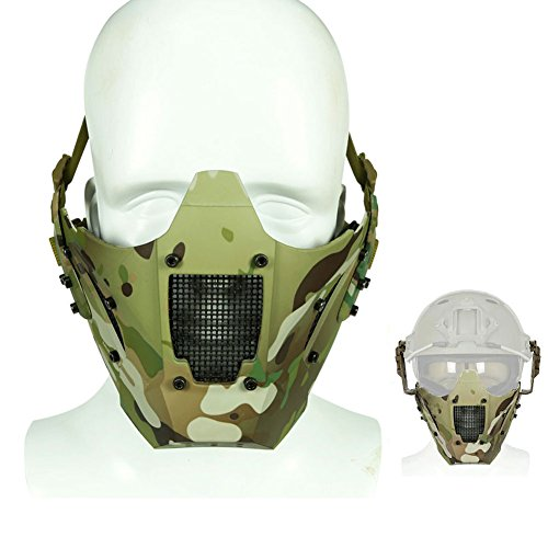 ATAIRSOFT Tactical Half Face Mesh Maske Fit Schnelle Helmschiene für Airsoft Jagd Paintball CS Spiel BB Gun Shooting MC