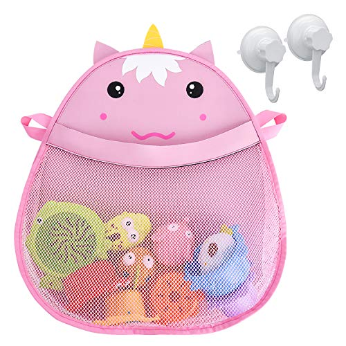 Bath Toys Storage Mesh Toy Organizer, GotechoD Baby Bath Toy Organizer Mesh Toy Bag Quick Dry Unicorn Baby Bath Toy Storage Mold Free Kids Bath Toy Organizer with Two Suction Cups