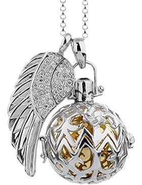 Nenalina Silber Halskette mit Engelsflüsterer Anhänger inkl. Klangkugel und Engel Flügel Anhänger | Damen Collier...