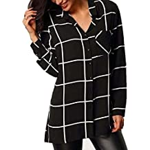 Minetom Camisa Cuadros Blusa Casual Elegante Oficina Gasa Cuello En V Botones Mangas Largas Shirt para