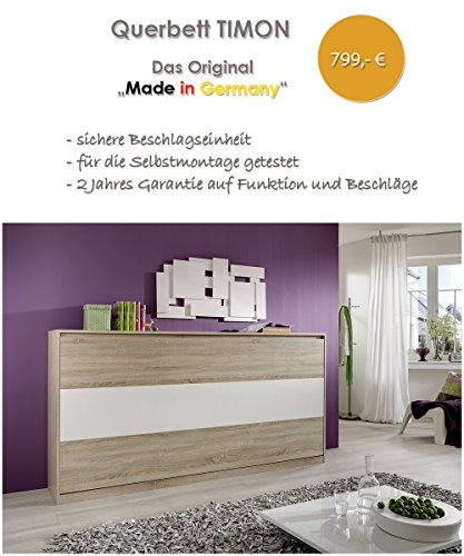 Querbett TIMON Schrankbett Foldaway Bed Horizontal 90x200cm in der Farbe Eiche Sonoma (ohne Matratze)