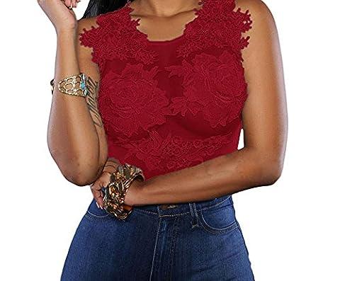 Bling-Bling Mesh Lace Applique Bodysuit(Red,L)