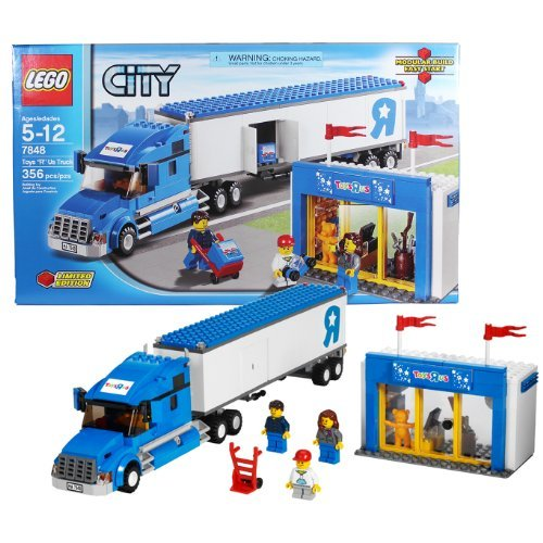 Lego Year 2012 City Series Set #7848 - TOYS R US TRUCK with Trailer Truck, Toys R Us Store Plus Truck Driver, Boy, and Sales Girl Minifigures (Total Pieces: 356) by CITY (Lego Toys R Us Truck)