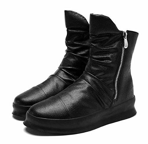 Uomini Casuale Pelle Stivali 2017 Inverno Nuovo In Cima Stivali Britannico Strada Moda Lato Cerniera Piatto Scarpe Black