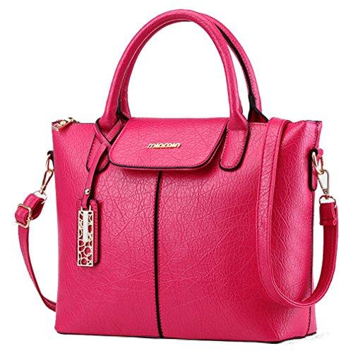MissFox Cerniera Design Donna Retrò Elegante Borsa A Tracolla Della Fashion Bags Rose