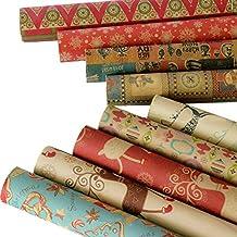 carta da regalo Migavenn,10 fogli carta regalo natalizia, carta da regalo di natale di stile assortito