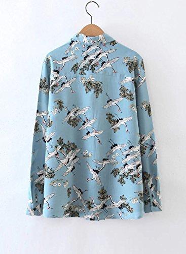 ACHICGIRL Women's Long Sleeve Printed Button down Fashion Shirt Light Blue