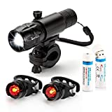 OxyLED® BL30 Helles LED-Fahrrad-Beleuchtungsset, Schnellspannsystem, aufladbar, 1 Fahrrad-Frontlicht aus beständiger Aluminiumlegierung, 2 Rücklichter, 2 Lithium-Batterien 18650, aufladbar per USB, 1 Montagehalterung