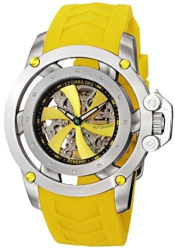 Stuhrling 309I.331G18 - Orologio da polso da uomo, cinturino in caucciù colore giallo
