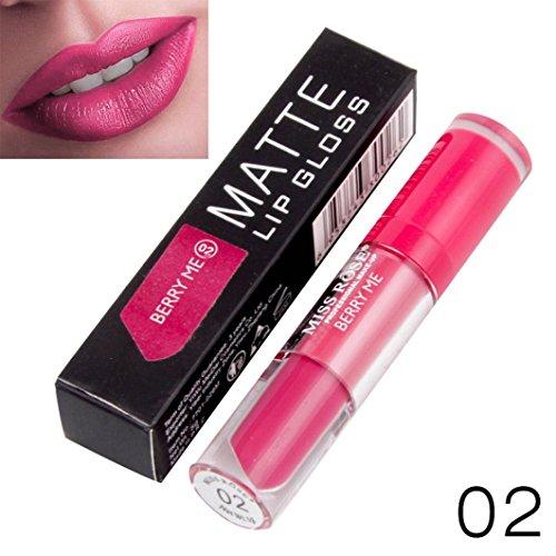 Xshuai MISS ROSE Langlebig Wasserdicht Liquid Lipstick Feuchtigkeitscreme Samt Matte Lippenstift (B) Rose-bad-pulver