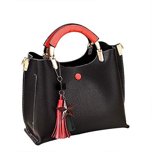 TianWlio Frauen Handtasche Quaste Anhänger Killer Bag Lässige Wild Shoulder Slung Handtasche Schwarz