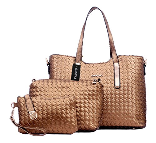 Tibes Fashion Pu Leather Handbag+Shoulder Bag+Purse 3pcs Bag Golden