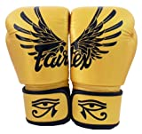 Fairtex Muay Thai Boxing Gloves BGV1 Limited Editon Falcon Gold Size: 12 14 16 oz Training & Sparring All Purpose Gloves for Kick Boxing MMA K1 Tight Fit Design (Falcon Gold, 14 oz)