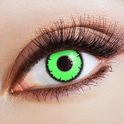 arbige Kontaktlinse Green Vampir   - Deckende Jahreslinsen für dunkle und helle Augenfarben ohne Stärke, Farblinsen für Karneval, Fasching, Motto-Partys und Halloween Kostüme ()
