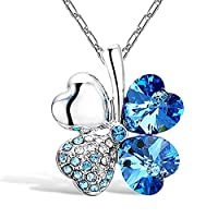 Hacoly Ladies Four Leaf Clover Heart-shaped Crystal Diamond Necklace Birthday Valentine Wedding Party Jewelry For Woman Girl (blue)