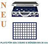 SAFE 268 - 182 ALU MÜNZKOFFER DIAMANT SCHWARZ FÜR 420 x 2 EUROMÜNZEN - mit 6 Tableaus Nr. 182 mit quadratischen Vertiefungen -------- Ideal für Münzen bis 26 mm oder bis Caps 20 oder für 2 Euro Gedenkmünzen Sammlungen von Andorra - Estland bis Zypern