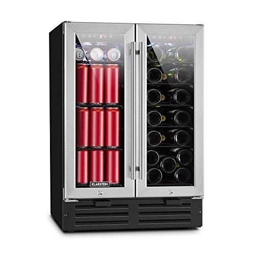 Klarstein Beersafe Saloon • Doppel-Weinkühlschrank • Getränkekühlschrank • 116 Liter Volumen für bis zu 18 Flaschen und 58 Dosen • Zwei getrennte Kühlzonen mit jeweils Kühlbereich: 5-22 °C • Silber -
