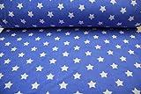 Pinidi Stoff/Meterware / ab 25cm Frottee-Qualität/Sommer-Frottee-Frottee Sterne weiß auf Mittelblau