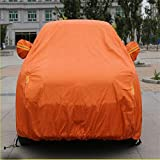 GLJY Auto-Cover, Auto-Cover Mit Fluoreszierenden Streifen UV-Schutz Allwetter-Schnee-Staub-Regen Wind-Resistent Outdoor Protector,Orange,XL